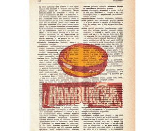 FREE SHIPPING WorldWide Hamburger on a Vintage Dictionary page