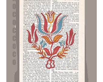 FOLK ART4 from 18th Century on Antique Book Page -Upcycled Book Print