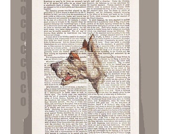 GREATDANE Dog-ARTWORK  printed on Repurposed Vintage Dictionary page -Upcycled Book Print