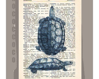 BlueTURTLE-ARTWORK  printed on Repurposed Vintage Dictionary page -Upcycled Book Print