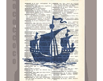 Sail Boat SILHOUETTE 2- ORIGINAL ARTWORK  printed on Repurposed Vintage Dictionary page -Upcycled Book Print