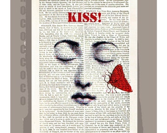 Big KISS - ORIGINAL ARTWORK  printed on Repurposed Vintage Dictionary page -Upcycled Book Print