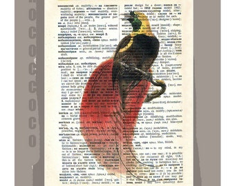 Bird of Paradise - ARTWORK printed on Repurposed Vintage Dictionary page 8x10 -Upcycled Book Print
