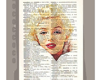 Marilyn Monroe -  printed on Repurposed Vintage Dictionary page -Upcycled Book Print