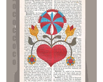 FOLKART3- Original Artwork  printed on Repurposed Vintage Dictionary page -Upcycled Book Print