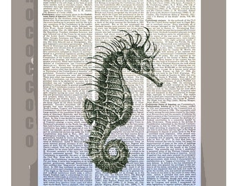 SEAHORSE-ORIGINAL ARTWORK printed on Repurposed Vintage Dictionary page 8x10 -Upcycled Book Print