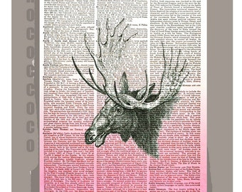 MOOSEombre ORIGINAL ARTWORK printed on Repurposed Vintage Dictionary page 8x10 -Upcycled Book Print
