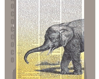 ELEPHANT- ORIGINAL ARTWORK printed on Repurposed Vintage Dictionary page 8x11 -Upcycled Book Print