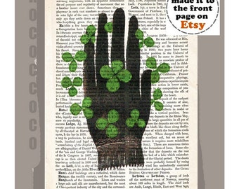 GOODLUCK - ORIGINAL ARTWORK  printed on Repurposed Vintage Dictionary page -Upcycled Book Print