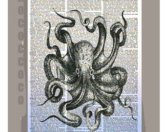 OCTOPUS-ORIGINAL ARTWORK printed on Repurposed Vintage Dictionary page 8x10 -Upcycled Book Print
