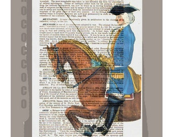 HORSEBACK Rider1 - ORIGINAL ARTWORK  printed on Repurposed Vintage Dictionary page -Upcycled Book Print