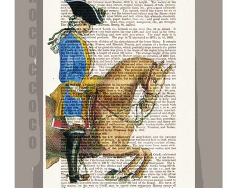 HORSEBACK Rider2 Art Print on an Antique 1889 Book page -Upcycled Book Print