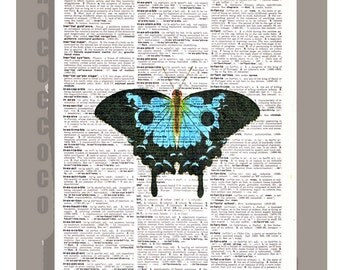 Blue BUTTERFLY -ARTWORK  printed on Repurposed Vintage Dictionary page -Upcycled Book Print