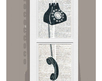 OFF the Hook -ORIGINAL ARTWORK printed on Repurposed Vintage Dictionary page -Upcycled Book Print
