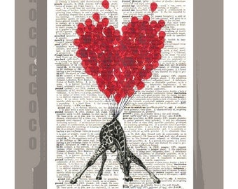 LOVE Carries All3 even a Giraffe  - ORIGINAL ARTWORK printed on Repurposed Vintage Dictionary page -Upcycled Book Print