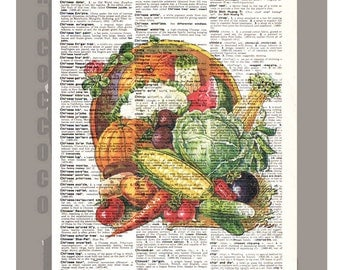 HARVEST - Colorful Vegetables Artwork on a page from vintage Dictionary -Upcycled Book Print