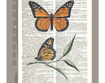 Beautiful Orange BUTTERFLIES  -  ARTWORK  printed on Repurposed Vintage Dictionary page -Upcycled Book Print