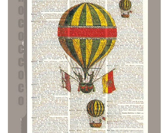 Vintage Air BALLOONS1 - ORIGINAL ARTWORK  printed on Repurposed Vintage Dictionary page 8 x 10 -Upcycled Book Print