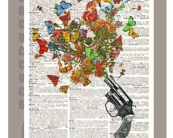 Vintage REVOLVER , Butterflies and Flowers  -ORIGINAL ARTWORK printed on Repurposed Vintage Dictionary page 8x10 -Upcycled Book Print