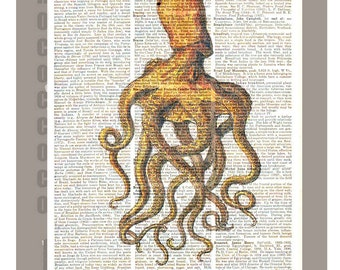 OCTOPUS 1  - ARTWORK  printed on Repurposed Vintage Dictionary page 8 x 10 -Upcycled Book Print