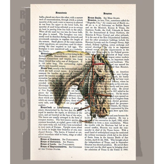 White HORSE -ARTWORK  printed on Repurposed Vintage Dictionary page -Upcycled Book Print