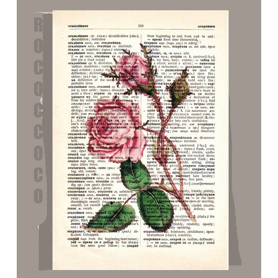 ROSES2Artwork on a page from vintage Dictionary -Upcycled Book Print