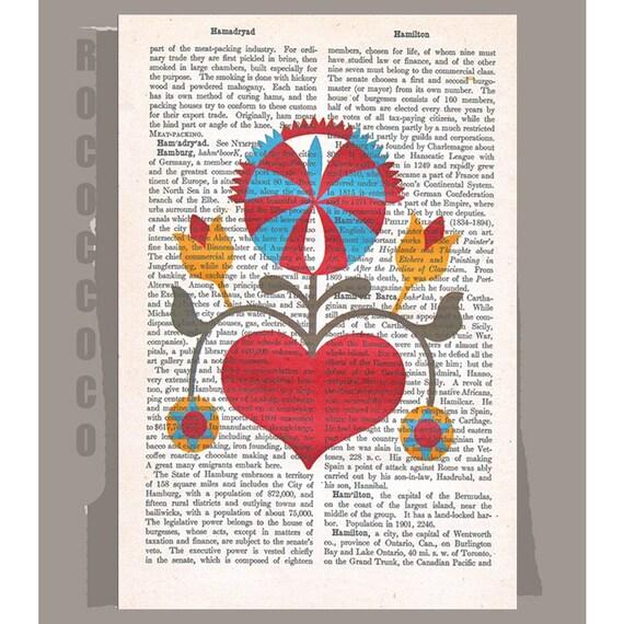 FOLKART3- Original Artwork  printed on Repurposed Vintage Dictionary page -Upcycled Book Print