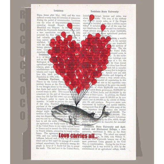 LOVE Carries All2 - ORIGINAL ARTWORK  printed on Repurposed Vintage Dictionary page -Upcycled Book Print