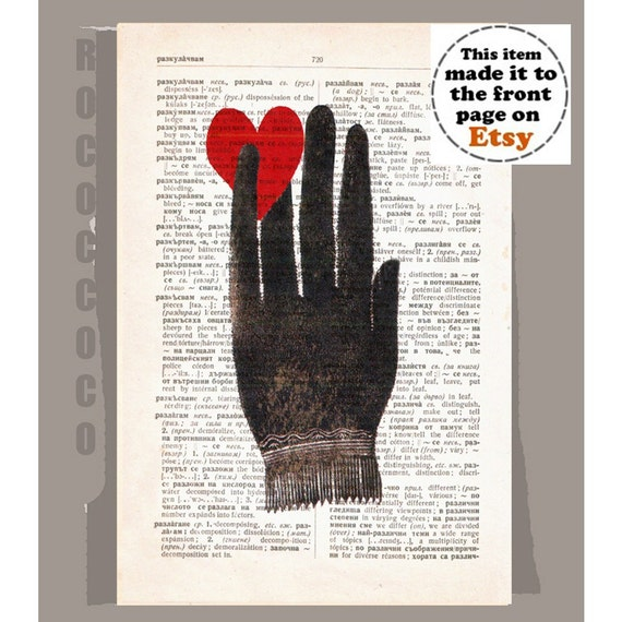 HAND with Heart - ORIGINAL ARTWORK  printed on Repurposed Vintage Dictionary page -Upcycled Book Print