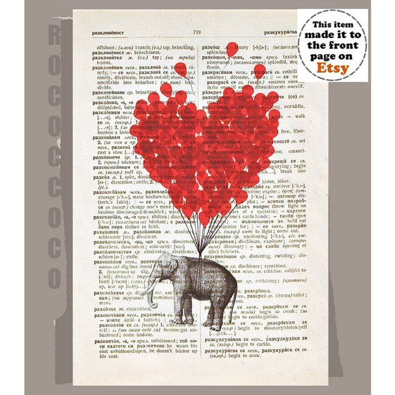 LOVE Carries All - ORIGINAL ARTWORK  Elephant with a Heart shaped balloon - Love book print - Printed over vintage dictionary book page