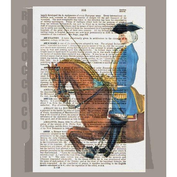 HORSEBACK Rider1 - ORIGINAL ARTWORK  printed on Repurposed Vintage Dictionary page -Upcycled Book Print