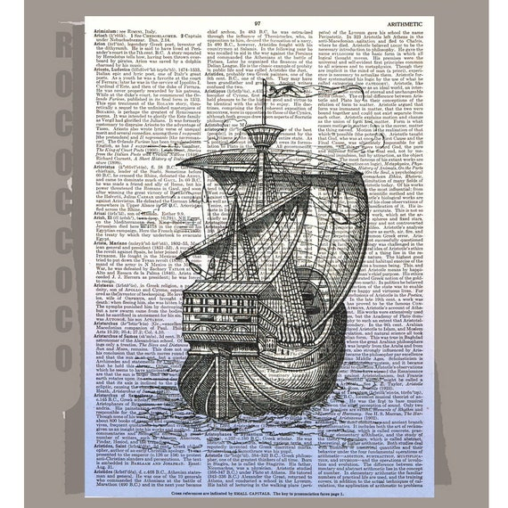 GALLEON Ship-ORIGINAL ARTWORK printed on Repurposed Vintage Dictionary page 8x10 -Upcycled Book Print