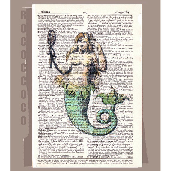 Antique MERMAID - ARTWORK printed on Repurposed Vintage Dictionary page -Upcycled Book Print