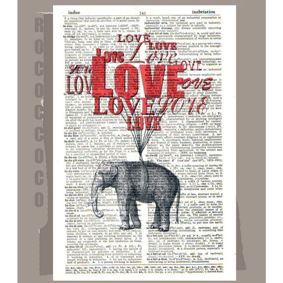 LOVE LoVe Love - ORIGINAL ARTWORK printed on Repurposed Vintage Dictionary page -Upcycled Book Print