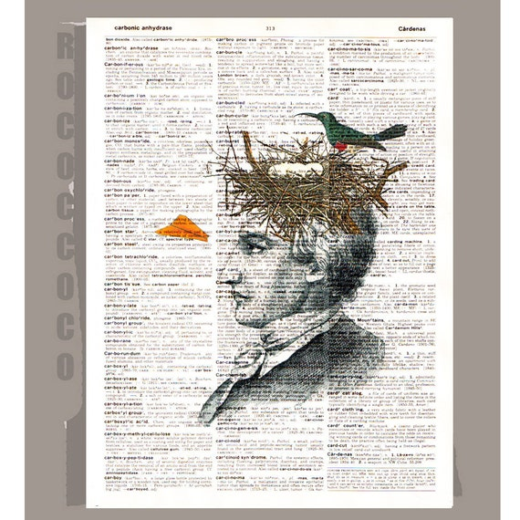Thinking man - ORIGINAL ARTWORK printed on Repurposed Vintage Dictionary page 8 x 11 -Upcycled Book Print
