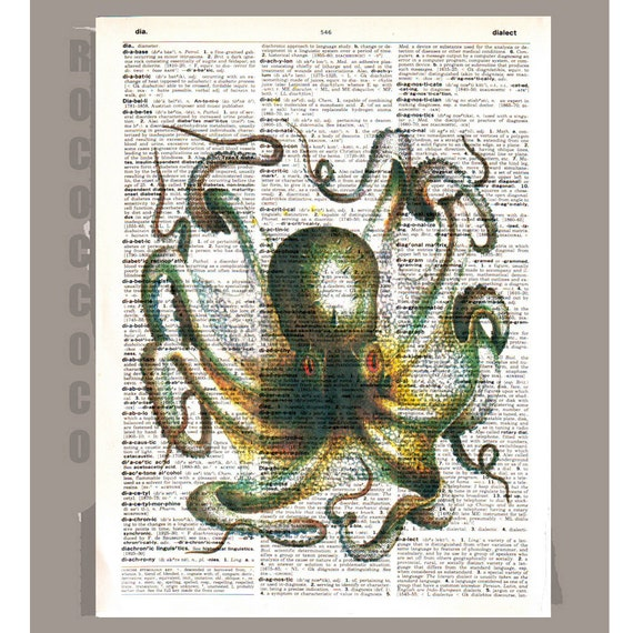 Fabulous OCTOPUS - ARTWORK printed on Repurposed Vintage Dictionary page8 x11 -Upcycled Book Print