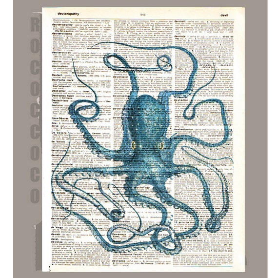 Antique OCTOPUS - ARTWORK printed on Repurposed Vintage Dictionary page8 x11 -Upcycled Book Print