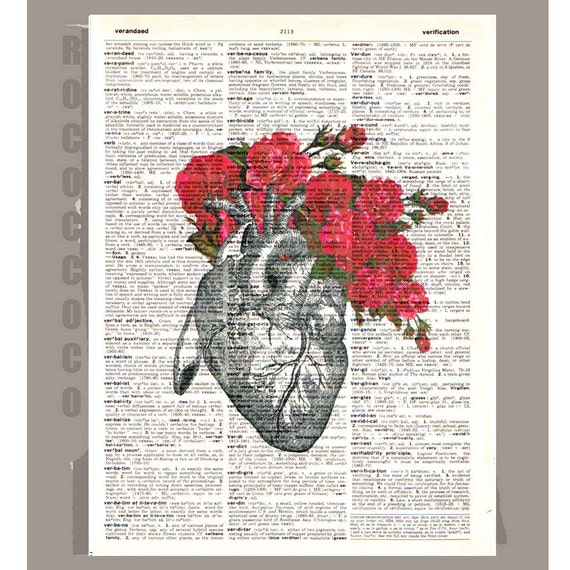 Vintage Heart with Roses -ORIGINAL ARTWORK printed on Repurposed Vintage Dictionary page 8x10 -Upcycled Book Print