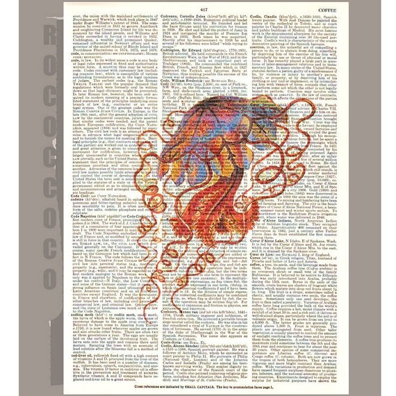 JELLYFISH  - ARTWORK  printed on Repurposed Vintage Dictionary page 8 x 10 -Upcycled Book Print