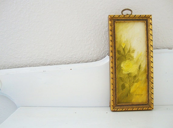 Petite Yellow Rose Oil Painting