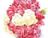 Custom Bridal Bouquet Original Painting Wedding Gift 15 in  x11 in By Marina Movshina
