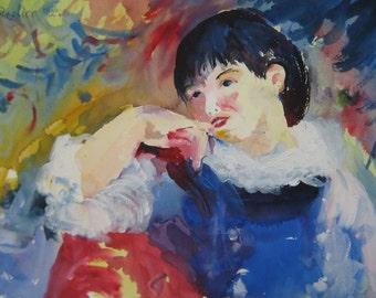 Vivid Impressionist Watercolor Portrait of a child by Marina Movshina