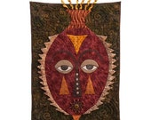 "Quilted Mask Wall Hanging - ""TEARFUL"" - 18"" W x 29"" H"