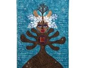 "Quilted Wall Hanging - SPIRIT TREE - WINTER - 24"" W x 38"" H"