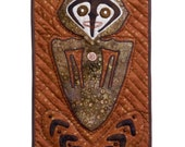 "Quilted Oceanic Tribal-Style  Wall Hanging - OCEANIC SPIRIT HOOK - 9.25""w x 16.25""h- Special Price"