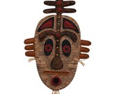"Quilted Tribal Mask Wall Hanging - DOWN UNDER - 15""w x 25""h"