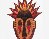 "African-Inspired Quilted Tribal Mask - Wall Hanging - AFRICAN ROYAL --17.5""w x 23.5""h"