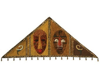 Quilted African Masks - Triangular Wall Hanging