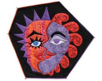"""Quilted Mask Wall Hanging - TWO-FACED - 19""""w x19""""h - Special Price"""