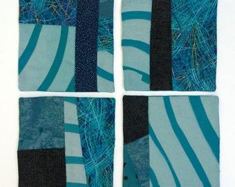 Blue Cotton Fabric Mini-Quilt Beverage Coasters- Set of 4